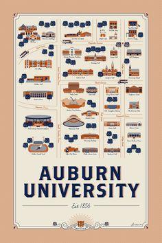 Auburn University Map Illustration