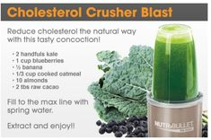 CHOLESTEROL CRUSHER GREEN SMOOTHIE:  kale, blueberries, banana, cooked oatmeal, almonds, raw unsweetened cacao powder | (try 1C water, add more if necessary)