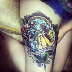 Beauty And The Beast Rose Stained Glass Tattoo