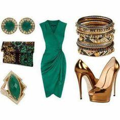 green dress, gold heels