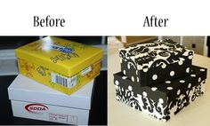RePurpose: Don&39;t buy those fabric boxes and bins... Use any size box (like soda dispenser styled box diaper box kitchen appliance box) Using fabric and hot glue cover neatly to match your decor.