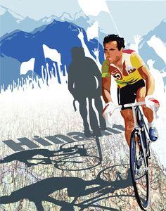 Vintage Original Tour De France Legend Hinault cyclist and map Art Print