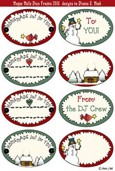 Today's FREEBIE will be just the thing to top off those plates of homemade goodies for your friends & neighbors. Just print a page, cut & tie them on to your gifts! Happy 7th Holly Days from the DJ Crew :)