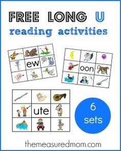 6 FREE printable mats for long u word families -- match the words to the pictures.