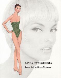 My paper doll of the exquisite supermodel Linda Evangelista...