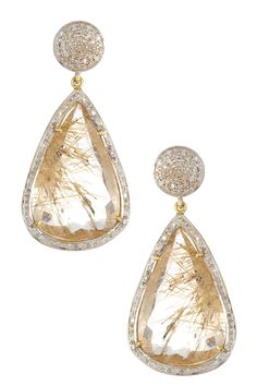 Golden Rutilated Quartz & White Diamond Drop Earrings