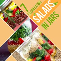 7 Clean Eating Salads in Jars--I'm loving these portable and quick lunch options!  #cleaneating #salads #lunch #quickandeasy