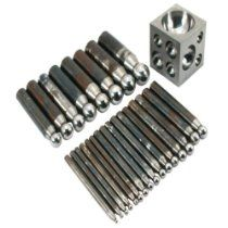 "Dapping Punches Steel 24Pcs & 2"" Dapping Block"