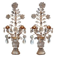 Pair of Italian Gilt Tole & Rock Crystal Wall Sconces #antiquelighting www.rubylane.com rock crystal, wall sconces, crystal wall