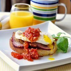 Open Faced Smoked Pork Breakfast Sandwich - a great summer brunch dish featuring home smoked pork tenderloin and a spicy, quick cooked tomato compote.