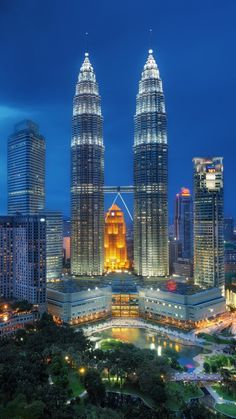 singapore, night, petronas twin towers