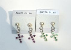 SIlver Plated Stud Earrings with Purple And by MonasCreationsFL