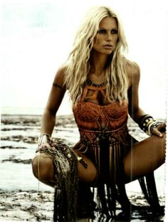 Summer bohemian chic modern hippie fringe swimsuit cover up with gypsy style jewelry stacked bracelets  cuffs  bangles. For the BEST BOHO fashion trends FOLLOW http://www.pinterest.com/happygolicky/the-best-boho-chic-fashion-bohemian-jewelry-gypsy-/