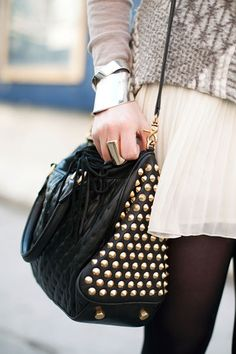 Rebecca Minkoff studded bag #handbag #crossbody #bags #studs #hardware #outfit #fashion #details #rings #skirt #street #urban #weekend #casual #style