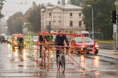 Cycling Activists Build Bamboo Car Skeletons to Demonstrate Space Taken by Single Occupancy Cars  http://www.thisiscolossal.com/2014/10/lets-bike-it-bamboo-car-skeletons/