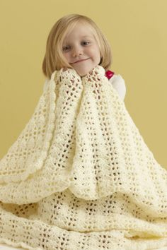 Image of Dreamy Lace Baby Throw-free Lion Brand crochet pattern