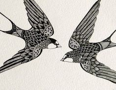 Original Artwork, ink line drawing - Swift Birds. $122.00, via Etsy.