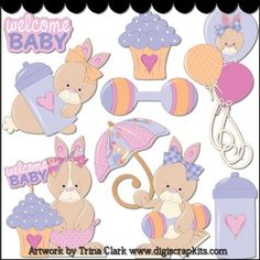 Baby Shower Bunnies Clip Art - Original Artwork by Trina Clark