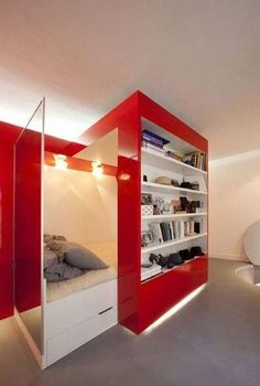 Clever place to hide a bed. This is sooo cool. I need this!
