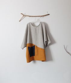 Made to order over size eco linen mix and autumn gold linen pin tuck tunic