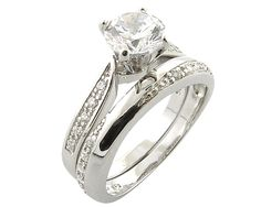 Sterling Silver Simulated Diamond Engagement/Wedding Ring Set   Price: £89.99  Available Online at: www.accessoriesofenvy.co.uk