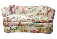 One Kings Lane - Floral Linen Settees, Pair