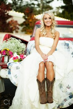 Truck and quilt for a country wedding. Love the dress and the boots!