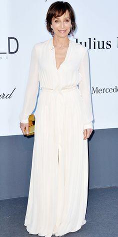 Kristin Scott Thomas in white Lanvin in Cannes 2013