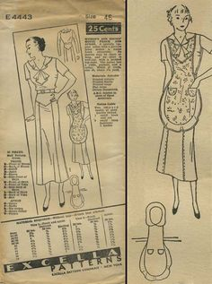 Vintage House Frock and Apron Sewing Pattern | Excella E4443 | Year 193? | Bust 46 | Waist n/a | Hip 50 vintag apron, apron sew, sew pattern, sewing patterns