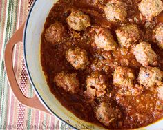 Moroccan-Style Lamb Meatballs.  Tender lamb meatballs in a delicious tomato sauce.  Fragrant and flavorful!