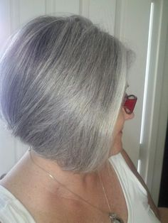 Nice grey with a silver streak around the face.