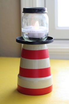 Inexpensive lighthouse craft designed for a Girl Camp craft. girls camp crafts, house crafts, baby food jars, baby jars, craft idea, flower pots, baby foods, lighthous, vbs crafts