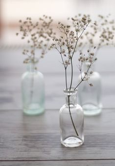 #InspireCaribou babies breath, white flowers, vintage bottles, bud vases, centerpiec, wedding styles, jar, glass, natural styles