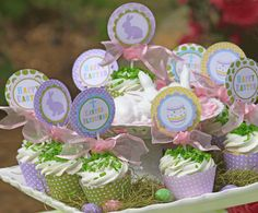 Easter party printables. Complete set of free printables include cupcake wrappers and toppers, tags, labels, bottled water wrappers, plus more. #Free #Printables #Cupcake #Tags #Labels