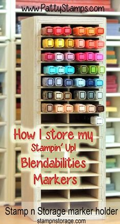 store Stampin Up blendabilities markers in a stamp n storage marker holder... link to store in post