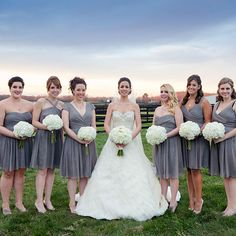 J.Crew gray, knee-length bridesmaid dresses (Laura Leigh Photo)