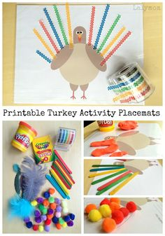 Free Printable Turkey Activity Placemats for Thanksgiving on Lalymom.com - perfect for playdough mats, pom poms, crayons, washi tape and more! Great fine motor skills activity for kids too!