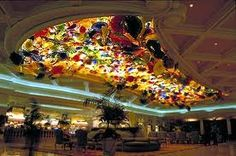 The Dale Chihuly blown glass sculpture ceiling at the Bellagio. Breathtaking glamor and color in Sin City.