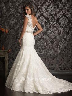 Gorgeous Fit and Flare Beaded Cap Sleeve V-neck V-back Lace Wedding Dress with Beaded Belt AU