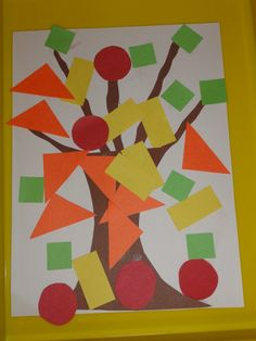 Fall geo trees shapes crafts for preschoolers, preschool shape crafts, fall classroom crafts, preschool colors and shapes, preschool crafts for colors, fall trees, shape crafts preschool, preschool fall crafts, shapes preschool crafts