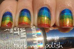 Holo rainbows using temporary tattoo paper | More Nail Polish