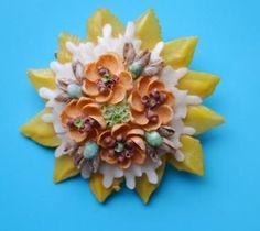 Vintage Seashell Brooch Pin