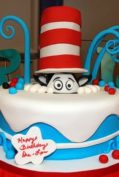 Cat in the Hat cake, lots more party ideas here
