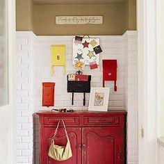 Fun red dresser & mailboxes