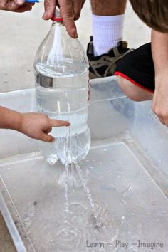 Learning about water pressure with a homemade water fountain (that only took a few minutes to make!)