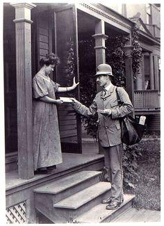 Letter Carrier Delivering Mail, 1908