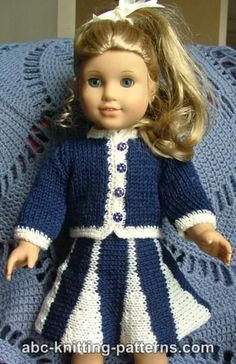 American Girl Doll Suit with Godet Skirt. Free knit pattern