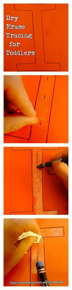 Dry erase tracing using construction paper & Scotch tape & other tracing activities for toddlers