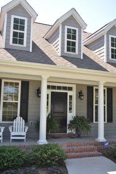 black door + gray shingles + white trim