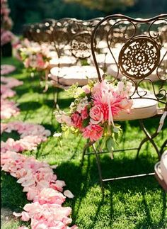 Garden chairs as wedding seating wedding ceremonies, garden chairs, pink flowers, wedding ideas, romantic weddings, wedding chairs, rose petals, outdoor weddings, garden weddings